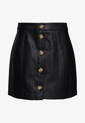 VMIVA COATED SKIRT - Áčková sukně - black