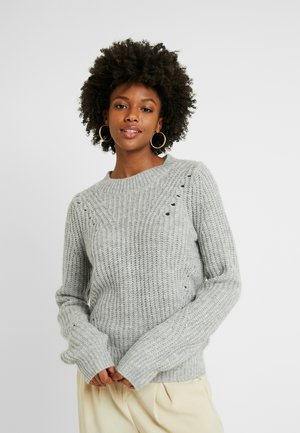 BRUSHED POINTELLE - Sweter - light heather grey