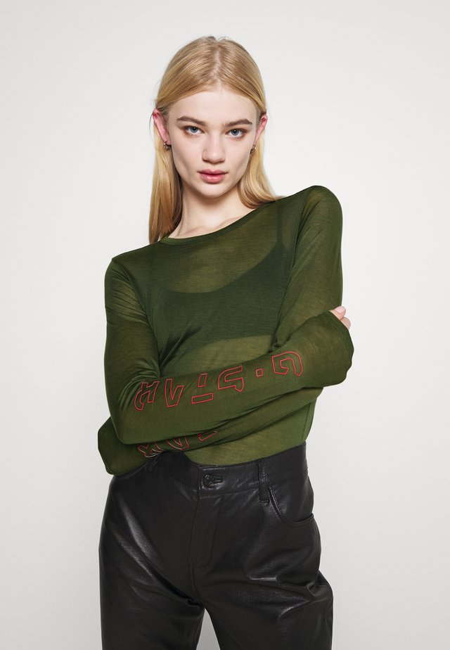 SHEER GRAPHIC SLIM FIT - Long sleeved top - combat