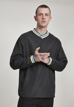 RIB STOP V-NECK PULL OVER - Sweatshirt - black