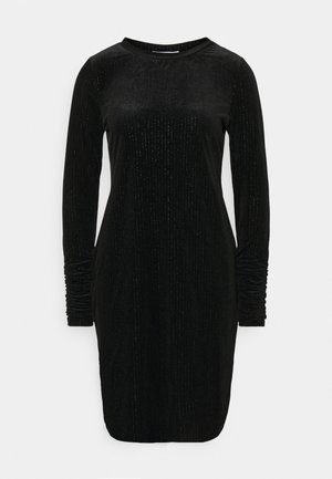 LONG SLEEVE DRESS - Shift dress - black/silver
