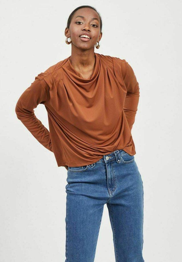 MIT LANGEN ÄRMELN STEHKRAGEN - T-shirt à manches longues - tobacco brown