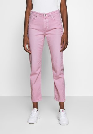 HIGH WAIST CROPPED LENGTH - Jeans straight leg - bleached berry