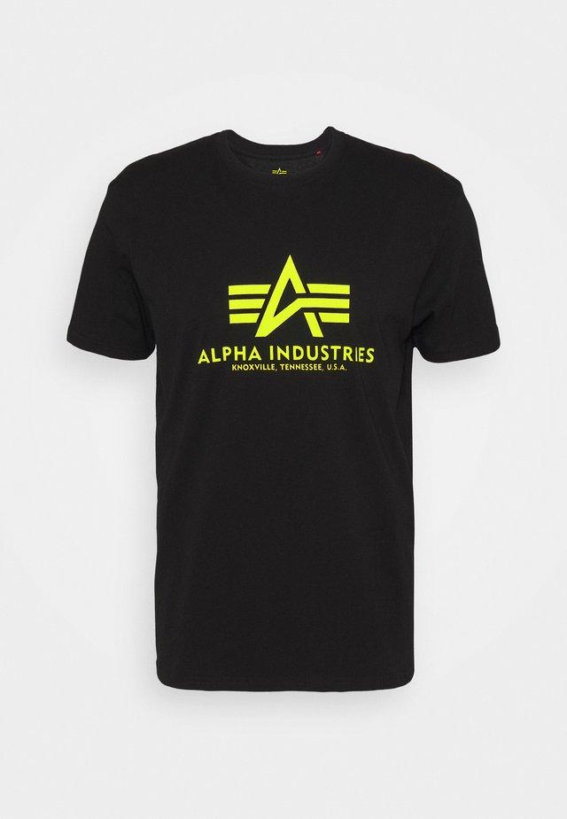 BASIC - Print T-shirt - black/neon yellow