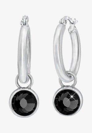 MET WITTE ZIRKONIA - Earrings - zwart