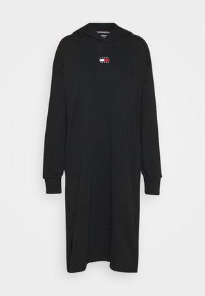 LONGLINE HOODIE BADGE DRESS - Kjole - black