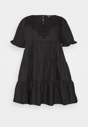 PLUS POPLIN SMOCK DRESS - Kjole - black