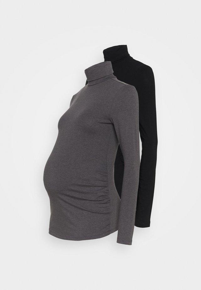 2 PACK - T-shirt à manches longues - black/dark grey