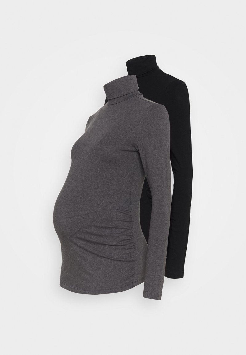 Anna Field MAMA - 2 PACK - Top s dlouhým rukávem - black/dark grey