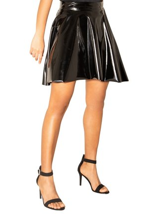 WET LOOK  - A-line skirt - black