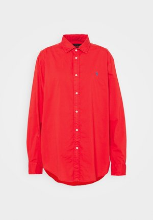 Button-down blouse - bright hibiscus