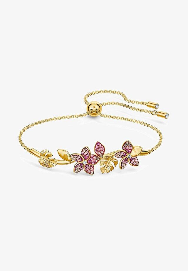 TROPICAL FLOWER BANGLE, PINK, GOLD-TONE PLATED - Bracelet - gelbgold
