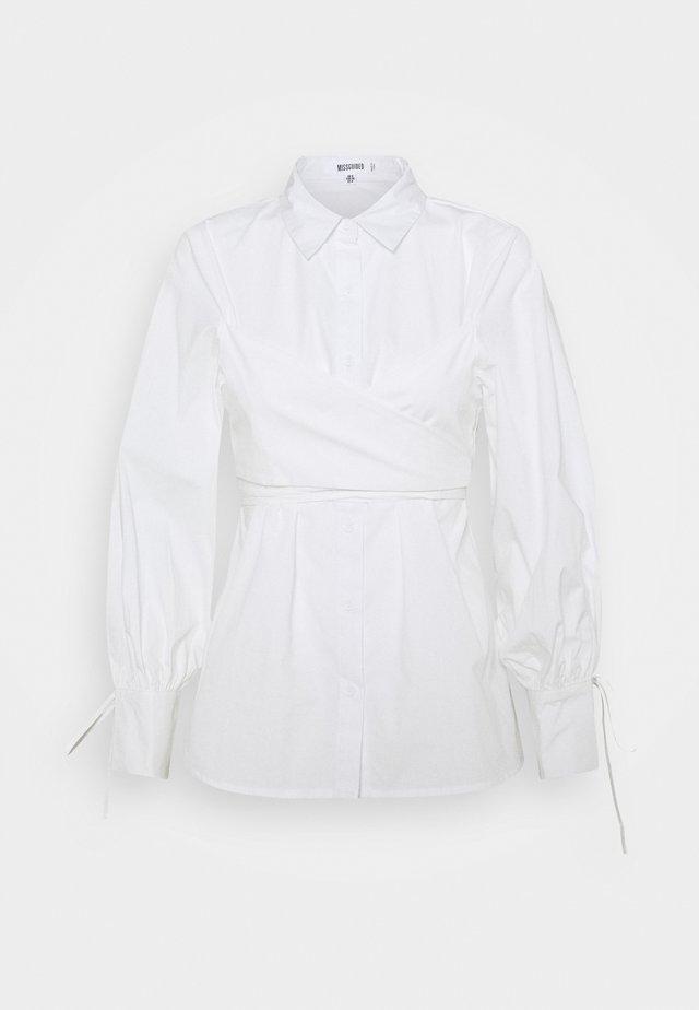 TIE WRAP DETAIL  - Button-down blouse - white