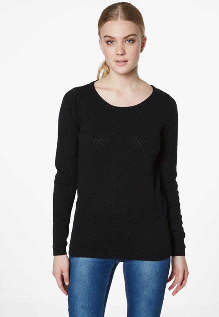 Vero Moda - VMCARE STRUCTURE O NECK - Strikkegenser - black