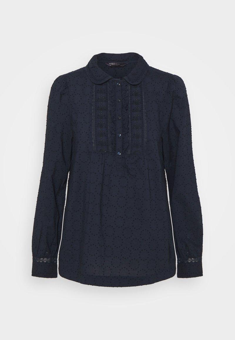 Marks & Spencer London - FRILL COLLAR - Bluser - dark blue
