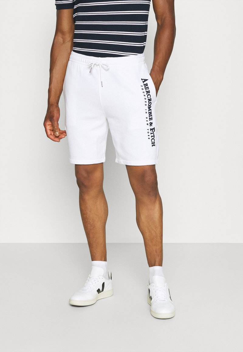 Abercrombie & Fitch - TECH LOGO - Tracksuit bottoms - white