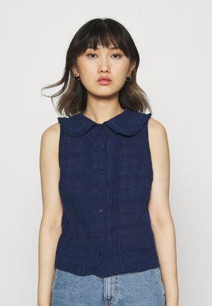 STANDOUT COLLAR SLEEVELESS BLOUSE - Top - medieval blue