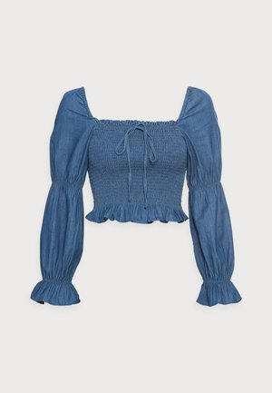 PCTAYLA CROPPED TOP - Blouse - medium blue denim