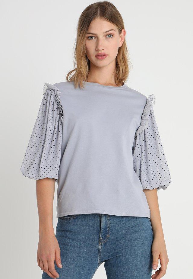 PUFF SLEEVE TEE - Long sleeved top - grey