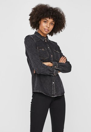 Button-down blouse - medium grey denim