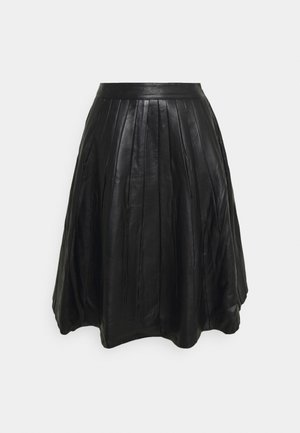 JOSE PLISSE LEATHER SKIRT  - Leather skirt - black