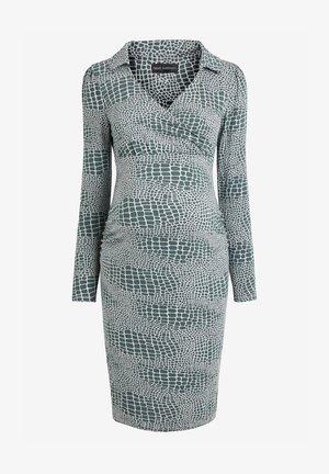 MATERNITY COLLAR DETAIL JERSEY DRESS - Sukienka etui - teal