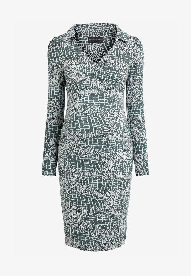 MATERNITY COLLAR DETAIL JERSEY DRESS - Etui-jurk - teal