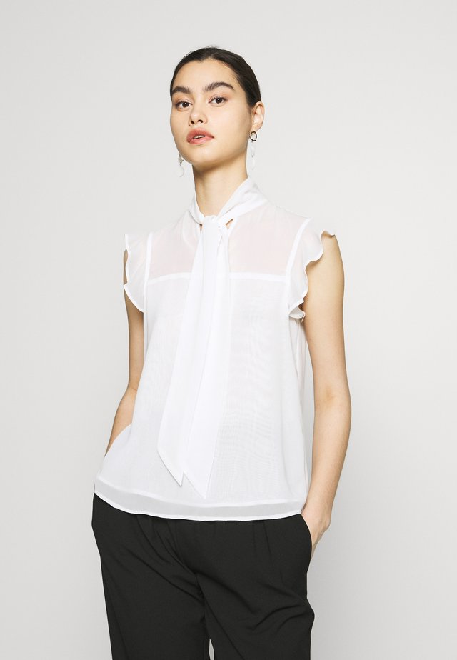 SLEEVLESS PUSSYBOW - Blouse - ivory