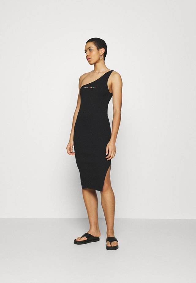 PRIDE ASYMMETRICAL RIB DRESS - Sukienka etui - black