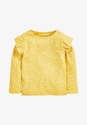 RIB FRILL LONG SLEEVE - Long sleeved top - ochre