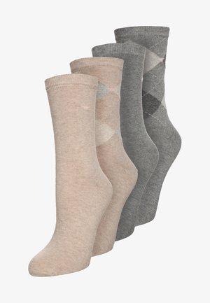 ARGYLE 4 PACK - Ponožky - beige/grau