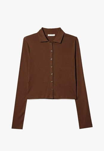 Button-down blouse - mottled brown