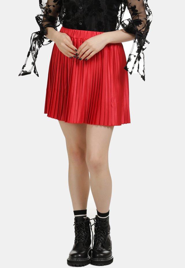 ROCK - Plisovaná sukně - red