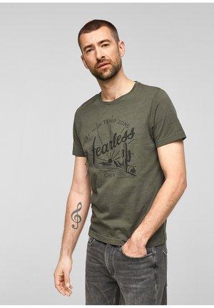 Print T-shirt - olive melange