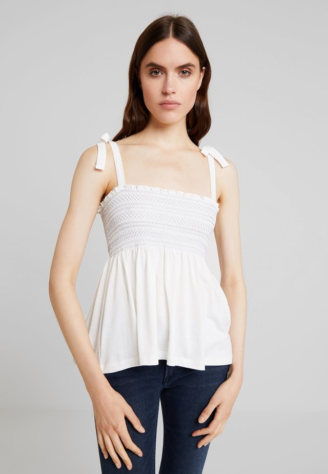 TIE SHOULDER TOP WITH CONTRAST  - Toppi - white
