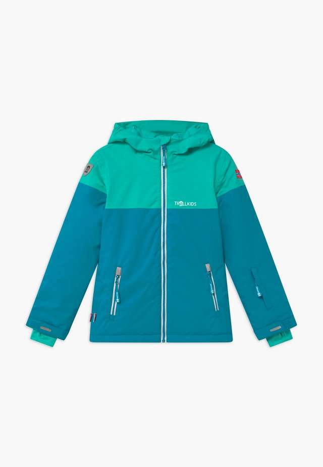 GIRLS HALLINGDAL - Snowboardjas - light petrol/dark mint/white