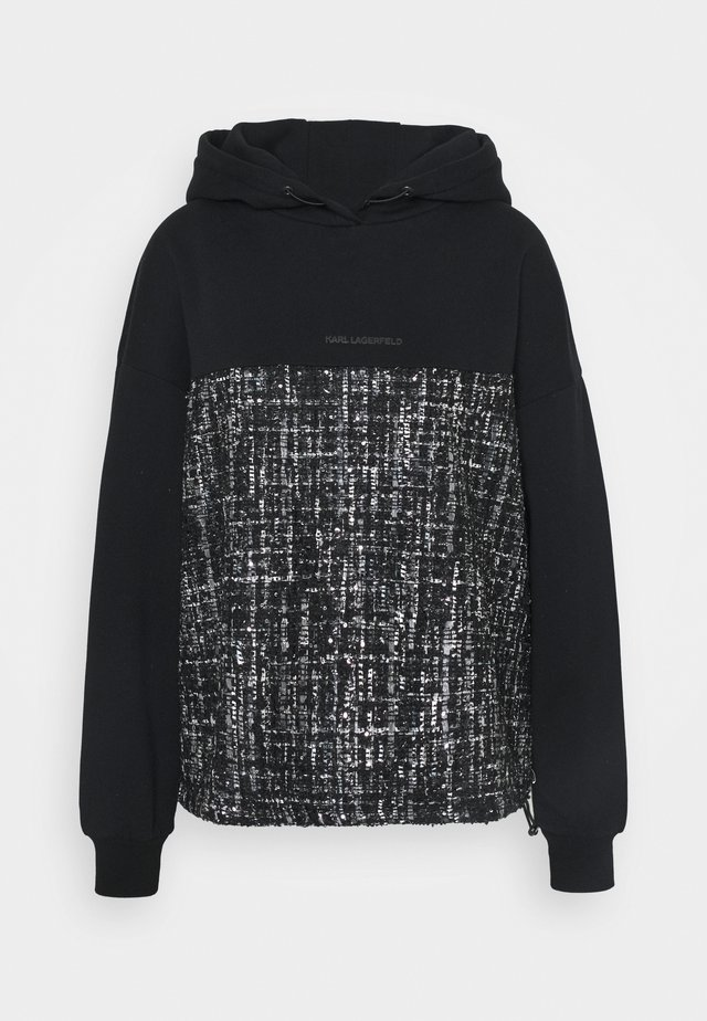 BOUCLE MIX HOODIE - Bluza z kapturem - black/grey