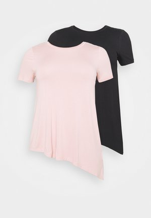 2 PACK - Basic T-shirt - black/light pink