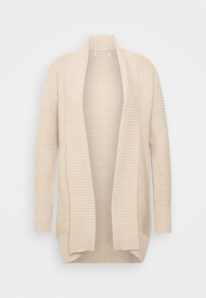 THICK SHAWL CARDIGAN - Cardigan - dark tan melange