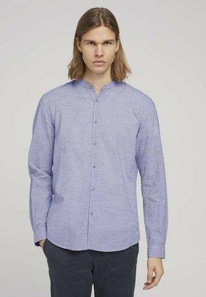 Shirt - navy white small dobby