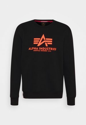 BASIC PRINT - Sweatshirts - black/neon orange