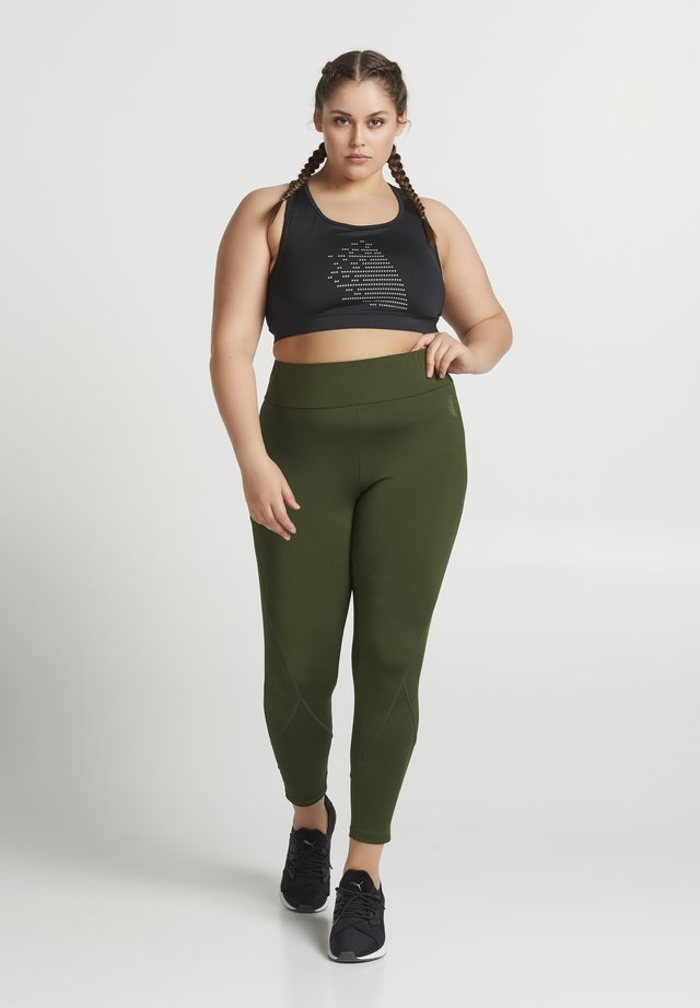 ALYNN PLAIN - Legginsy - kombu green