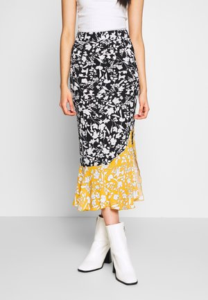 MIXED FLORAL SLIT FRONT MIDI SKIRT - Pencil skirt - black