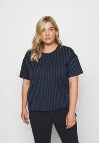 Lauren Ralph Lauren Woman - LAFREYA SHORT SLEEVE - T-shirt basic - french navy/pale cream - 0
