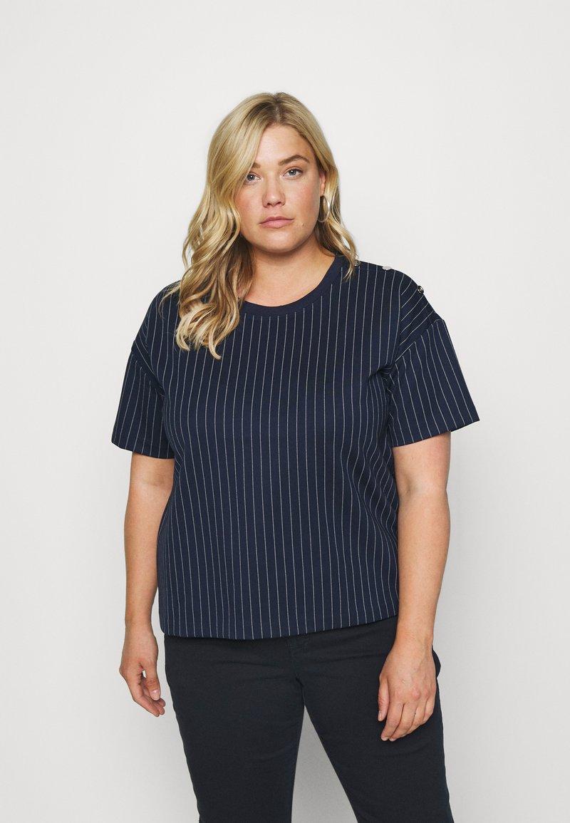 Lauren Ralph Lauren Woman - LAFREYA SHORT SLEEVE - T-shirt basic - french navy/pale cream