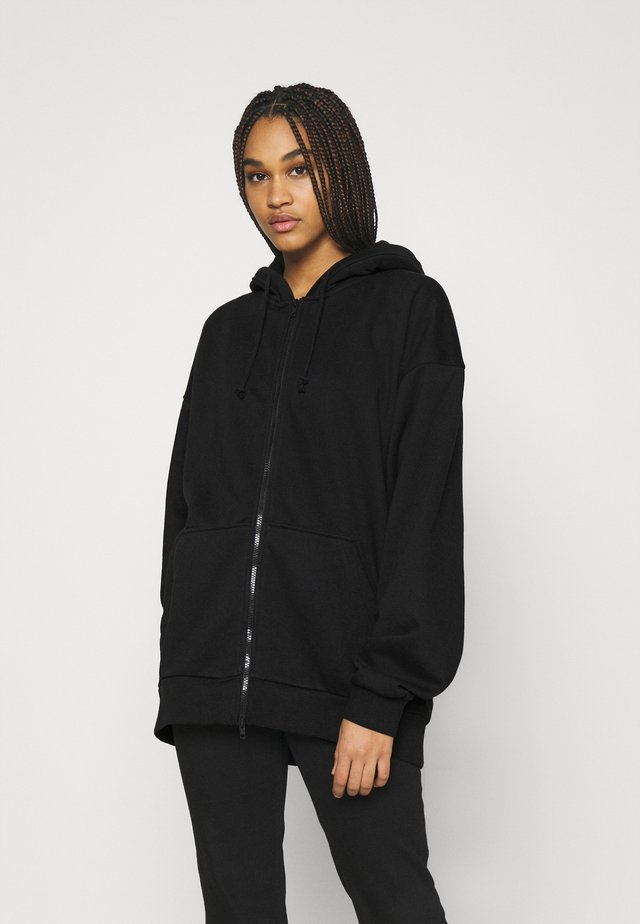 HUGE ZIP HOODIE - Huvtröja med dragkedja - black