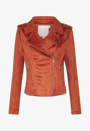 Imitert skinnjakke - fox orange