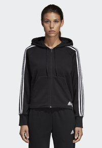 adidas Performance - MUST HAVES 3-STRIPES FRENCH TERRY HOODIE - Zip-up hoodie - black - 0
