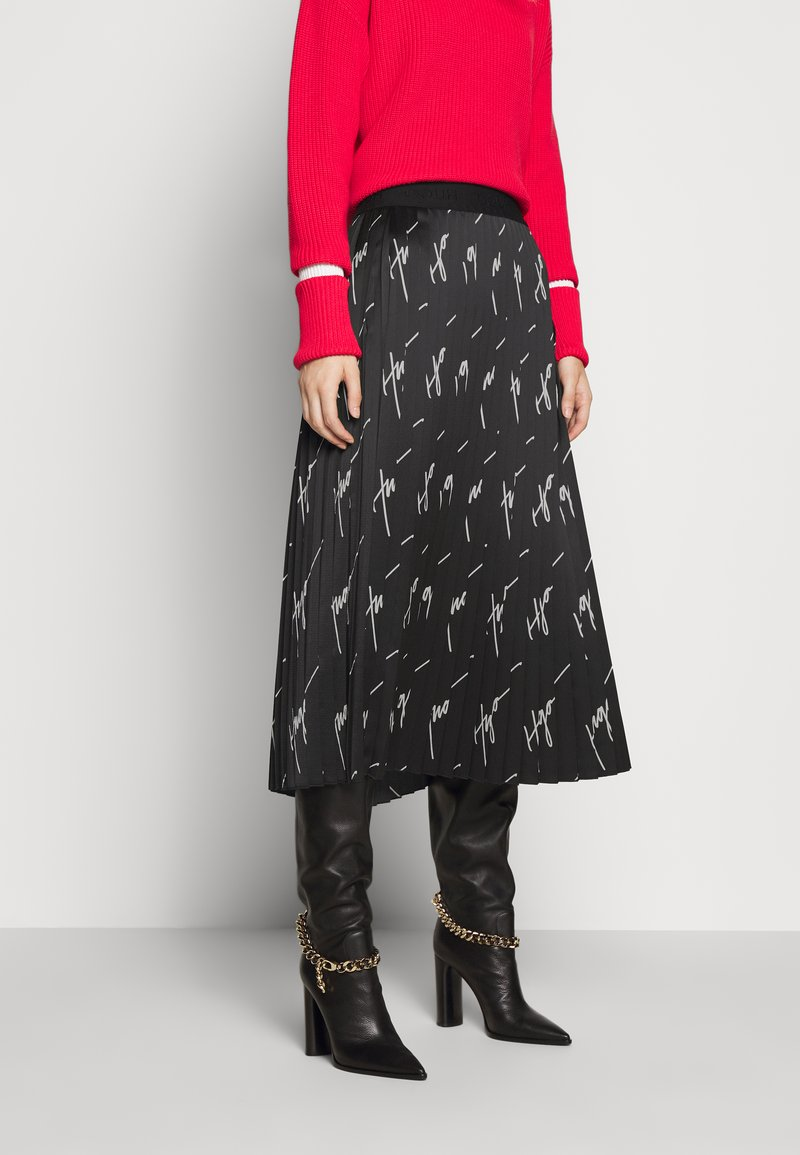 HUGO - RALISSY - Plisovaná sukně - black