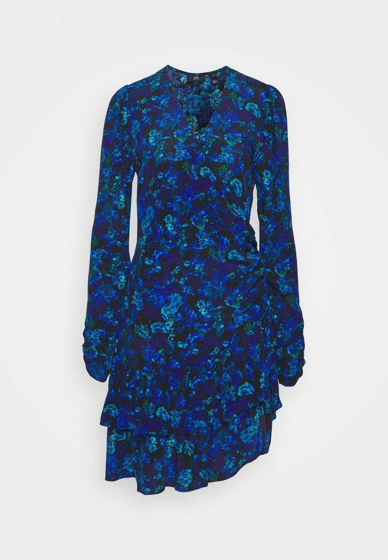 River Island - RUFFLE HEM TEA DRESS - Day dress - blue